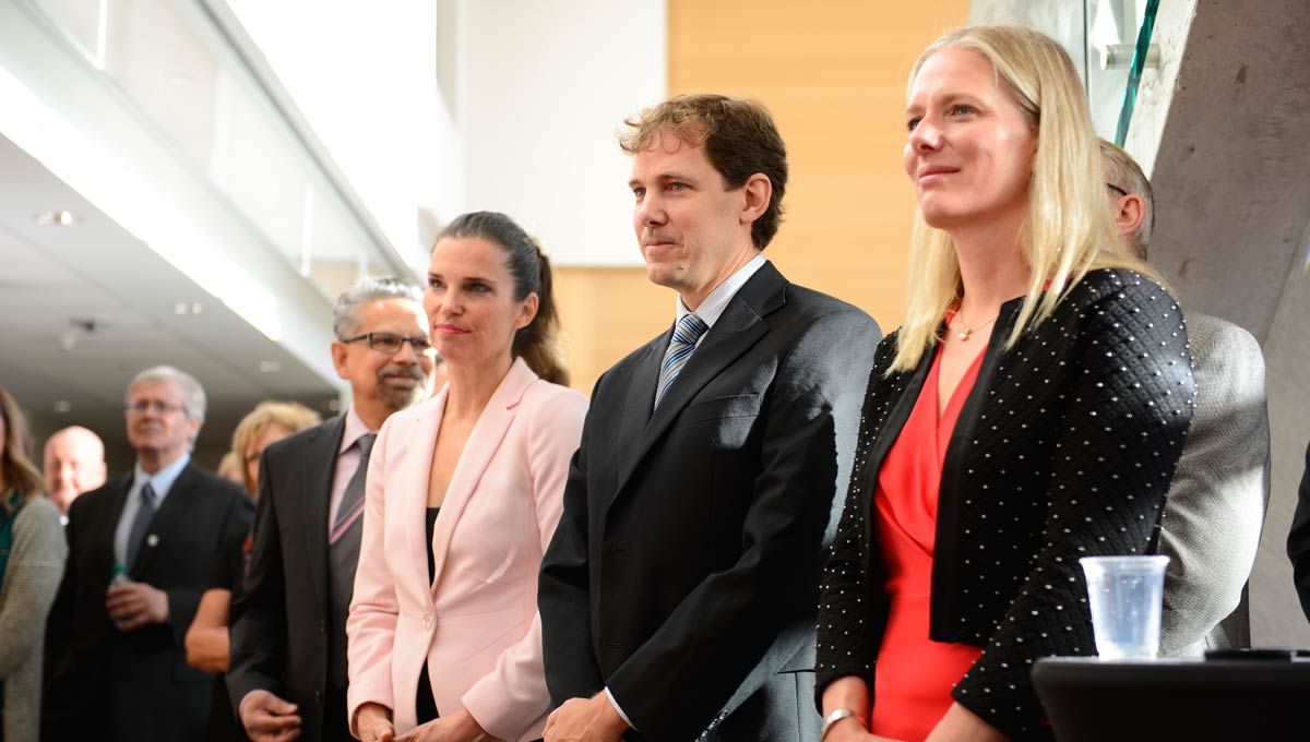 Critical climate research: From left to right: NSERC President B. Mario Pinto, Science Minister Kristy Duncan, Professor Matthew Johnson and Environment and Climate Change Minister Catherine McKenna