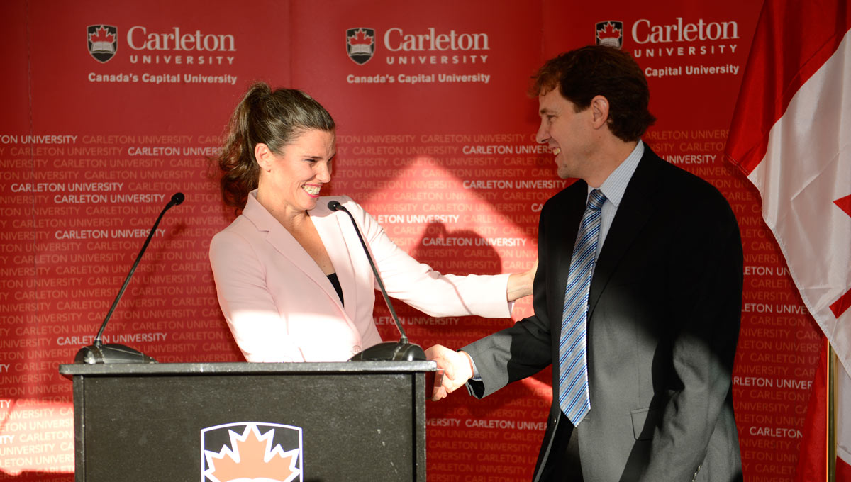 Critical Climate Research: Science Minister Kristy Duncan congratulates Mechanical and Aerospace Engineering Prof. Matthew Johnson