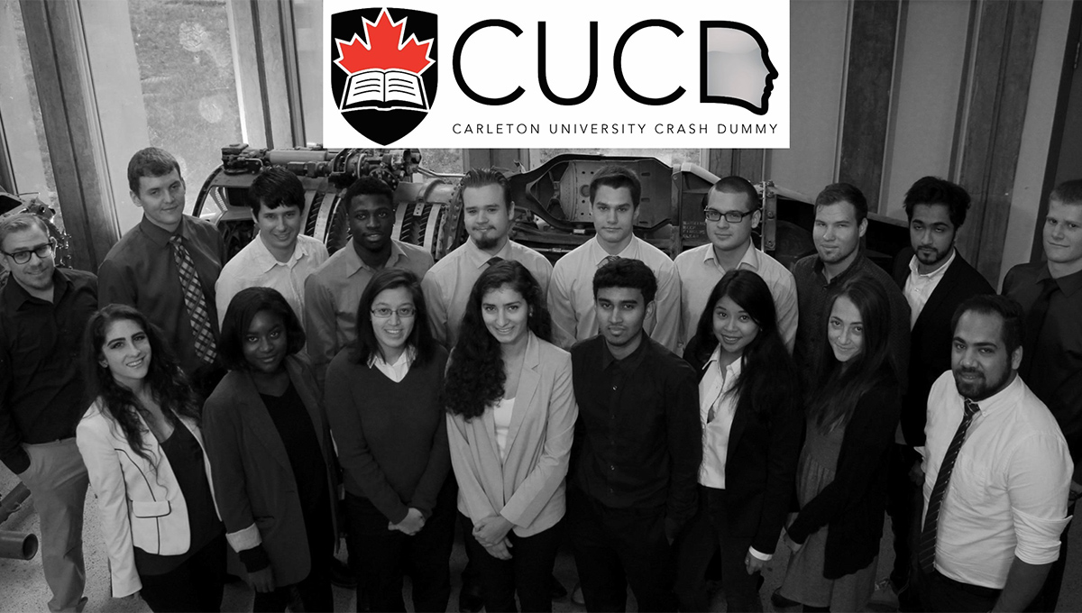 Francesca Tsimiklis (centre) and the Carleton University Crash Dummy team