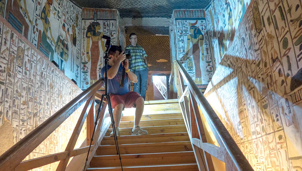 Global Heritage Conservation: Heritage Engineering master's student Alex Federman hard at work in the entrance to Queen Nefertari's tomb.