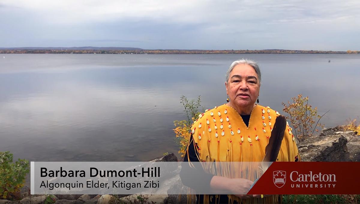 Algonquin Elder Barbara Dumont-Hill speaks during the fall graduation video