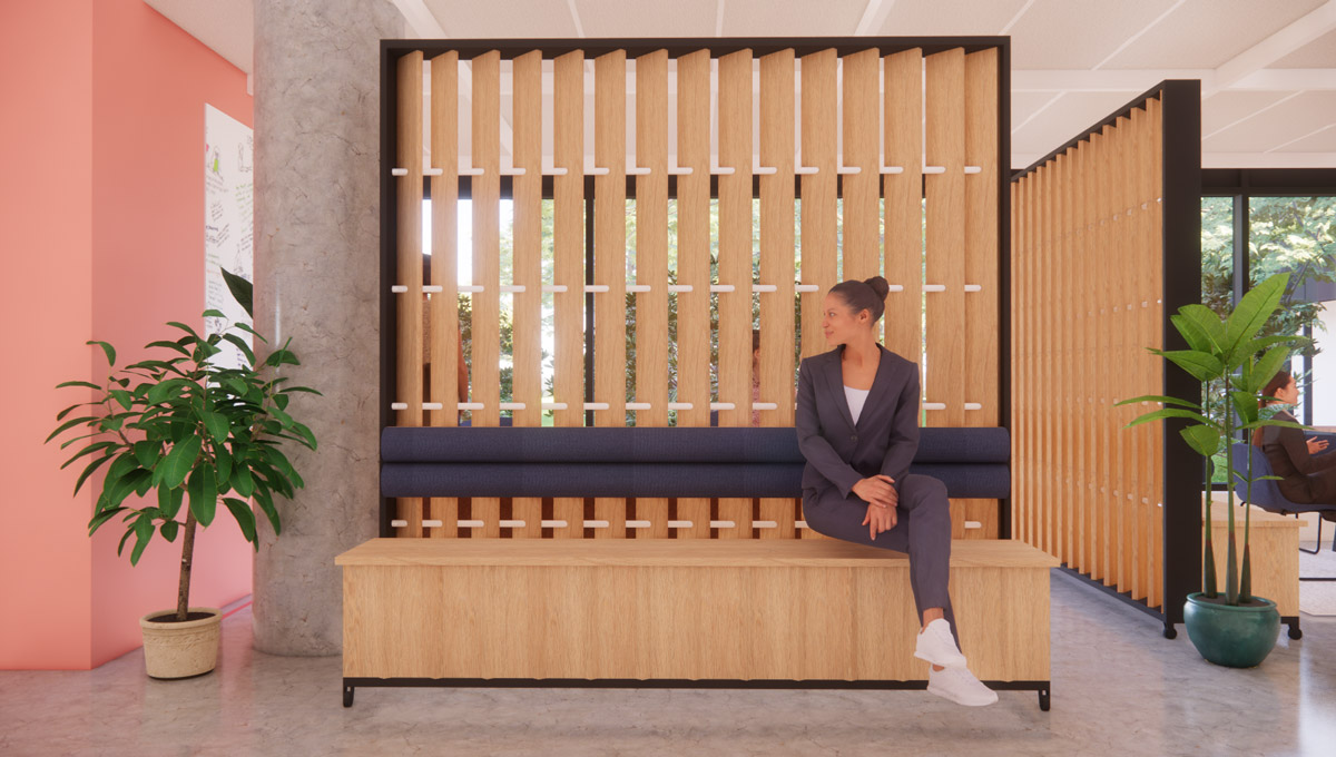 Innovation space rendering of a woman sitting on a bench.