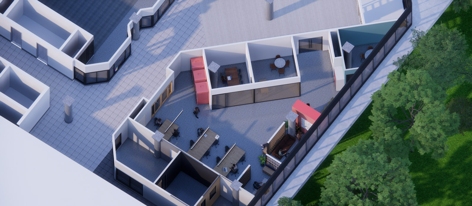 Innovation space render from an aerial view