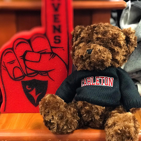 A teddy bear wearing a Carleton University sweater