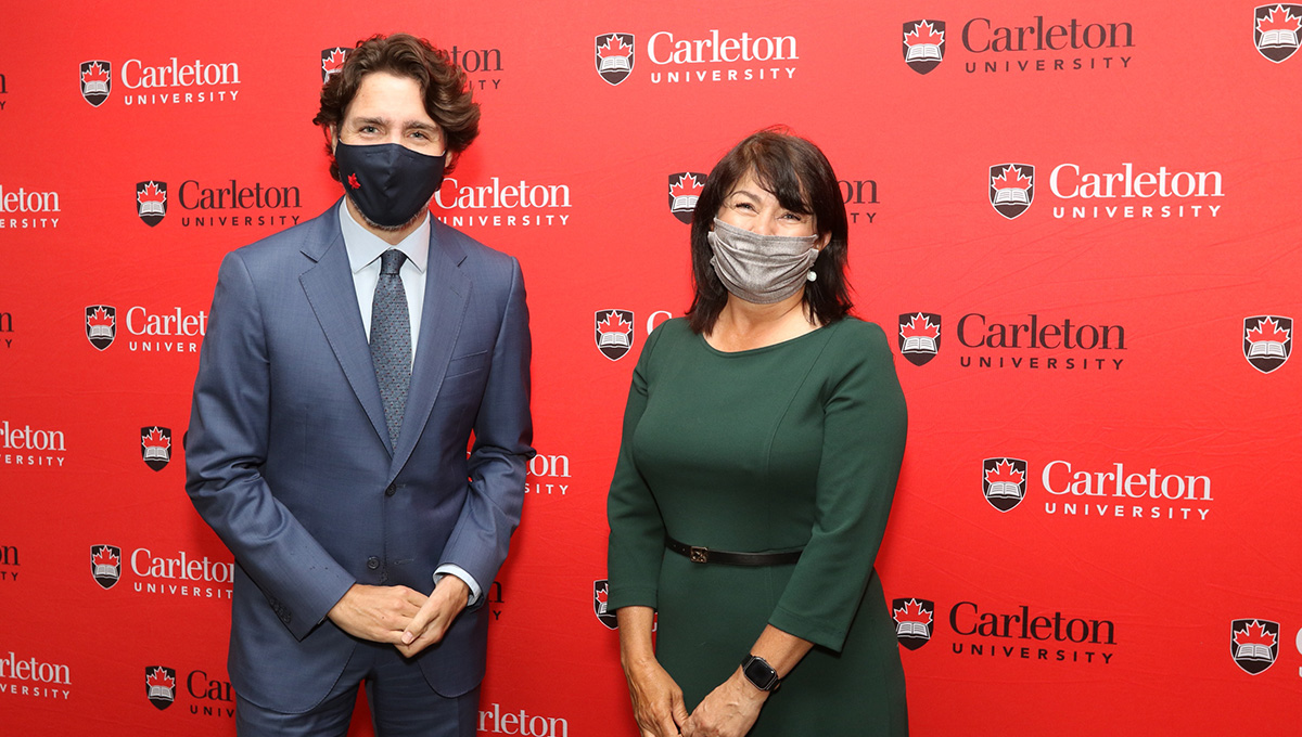 Prime Minister Justin Trudeau and Carleton University Chancellor Yaprak Baltacıoğlu