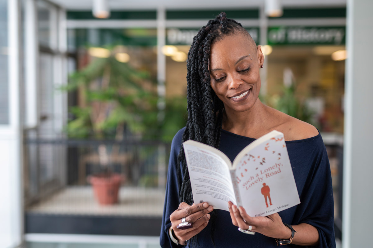 Film Studies student Kagiso Lesego Molope, pictured here reading one of her novels in Paterson Hall, is an accomplished, award-winning novelist whose writing reflects the diversity of Canada.