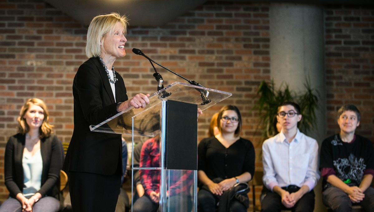 President Roseann O'Reilly Runte shares details of the new partnership with Shopify inside the company's downtown Ottawa office.