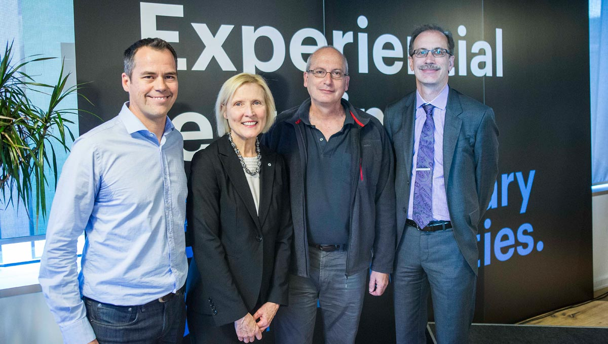 From left to right: Jean-Michel Lemieux, SVP of Engineering at Shopify, Carleton University President Roseann O'Reilly Runte, Doug Howe, director of the School of Computer Science, and Faculty of Science Dean Malcolm Butler.