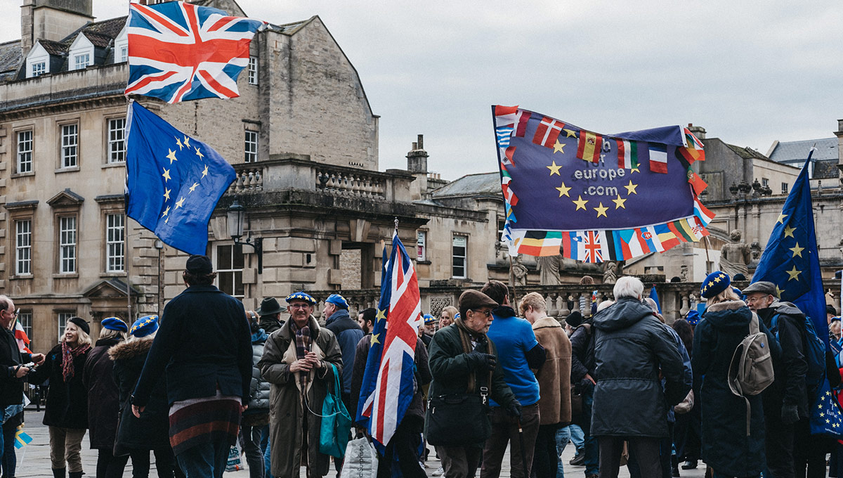 An image of Brexit protesters