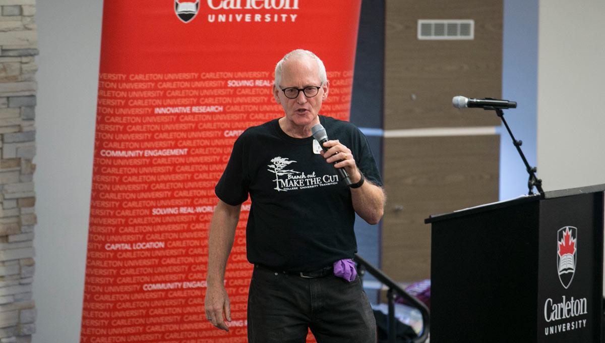 Paddy Stewart, a Carleton alum, motivational speaker and Make the CUT transition co-ordinator.
