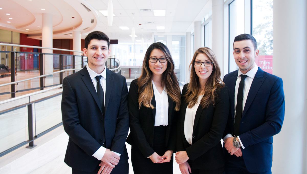 Sprott students Alejandro Barreto, Karen Tran, Isabela Murillo and Michael Cacho won gold at the 2016 NIBS Worldwide Case Competition.