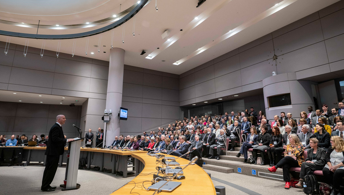 President Benoit-Antoine Bacon delivered a speech during the Mayor's Breakfast Series at Ottawa City Hall on Feb. 12, 2019.