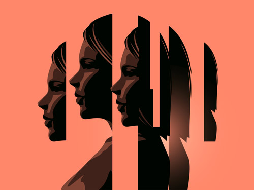 An illustration of a woman's face, copied and divided into into many different component parts on a plain background.