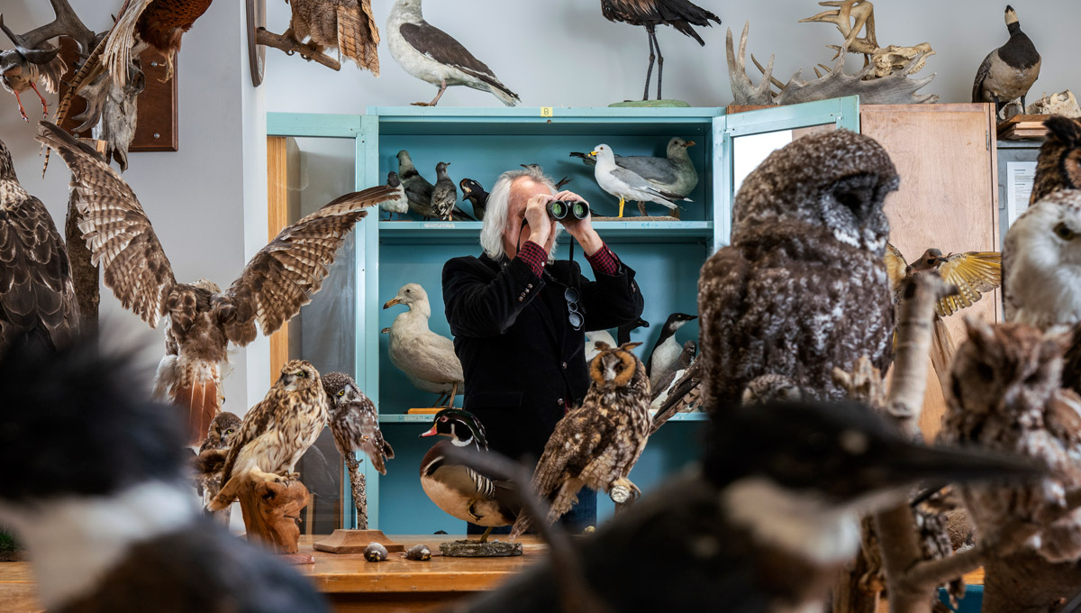 Carleton University Biology Prof. Michael Runtz, pictured here in a lab looking through binoculars, has published Algonquin Wild, a new book celebrating the 125th anniversary of Algonquin Provincial Park.