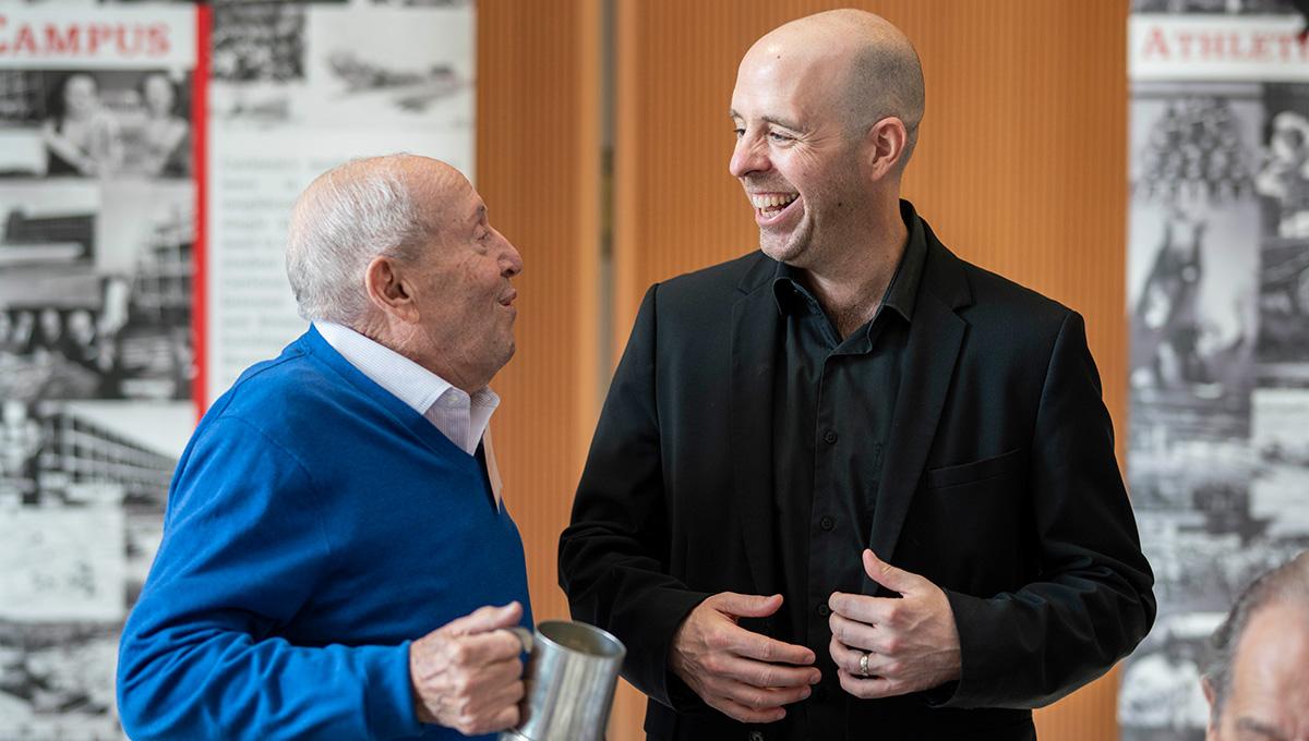 Alumnus Alan Abelson and Carleton University President Benoit-Antoine Bacon in conversation