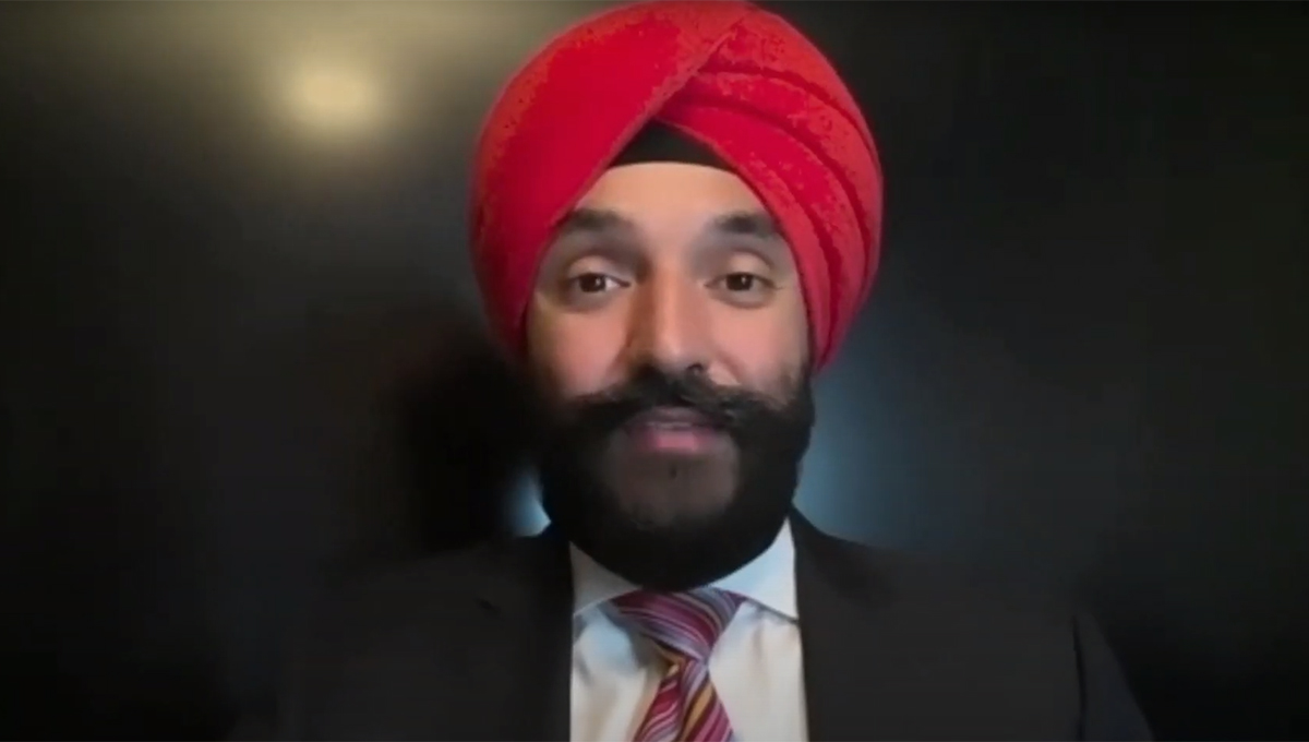 Minister Navdeep Bains speaks during the conversation with Assistant Vice-President and University Advisor Michael Charles