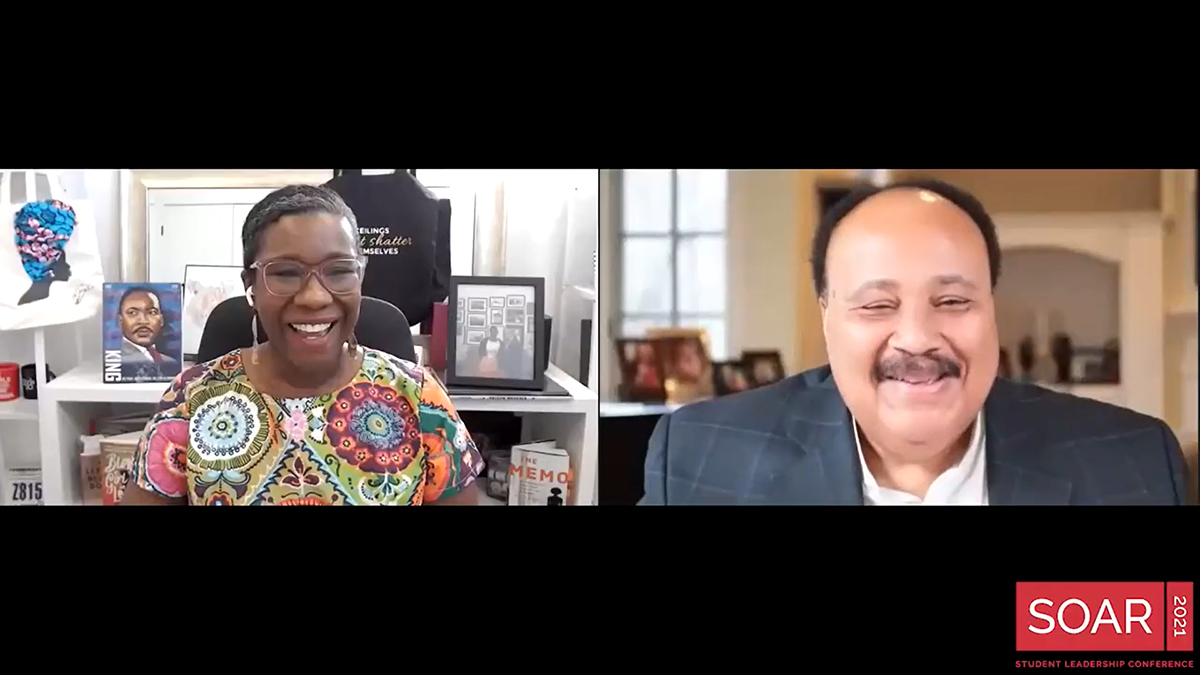 Moderator Nadia Theodore and Martin Luther King III