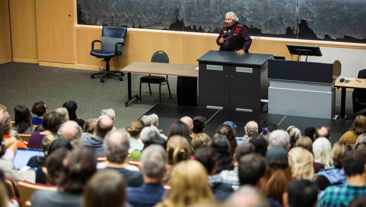 Senator Murray Sinclair, chair of the Truth and Reconciliation Commission, delivers an address to a packed theatre in Carleton's River Building.