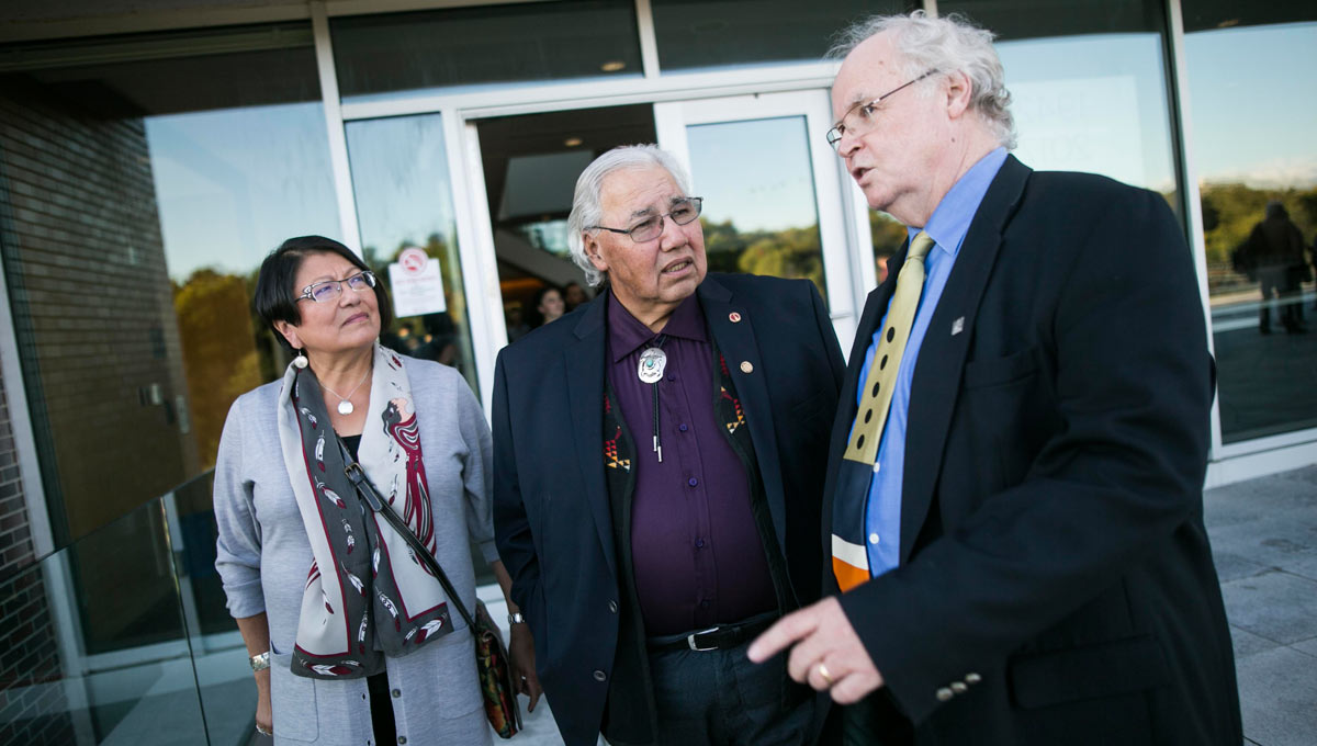 Truth and Reconciliation Commission Chair Sinclair's speech was preceded by a few words from his wife Katherine Morrisseau-Sinclair (left). Also pictured: Interim FASS Dean Wallace Clement (right)