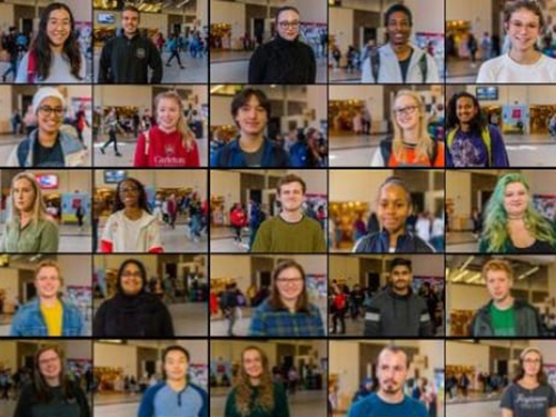 A collage of Carleton students speaking to the CBC in the University Centre galleria as part of the My Vote. Our Future campaign.