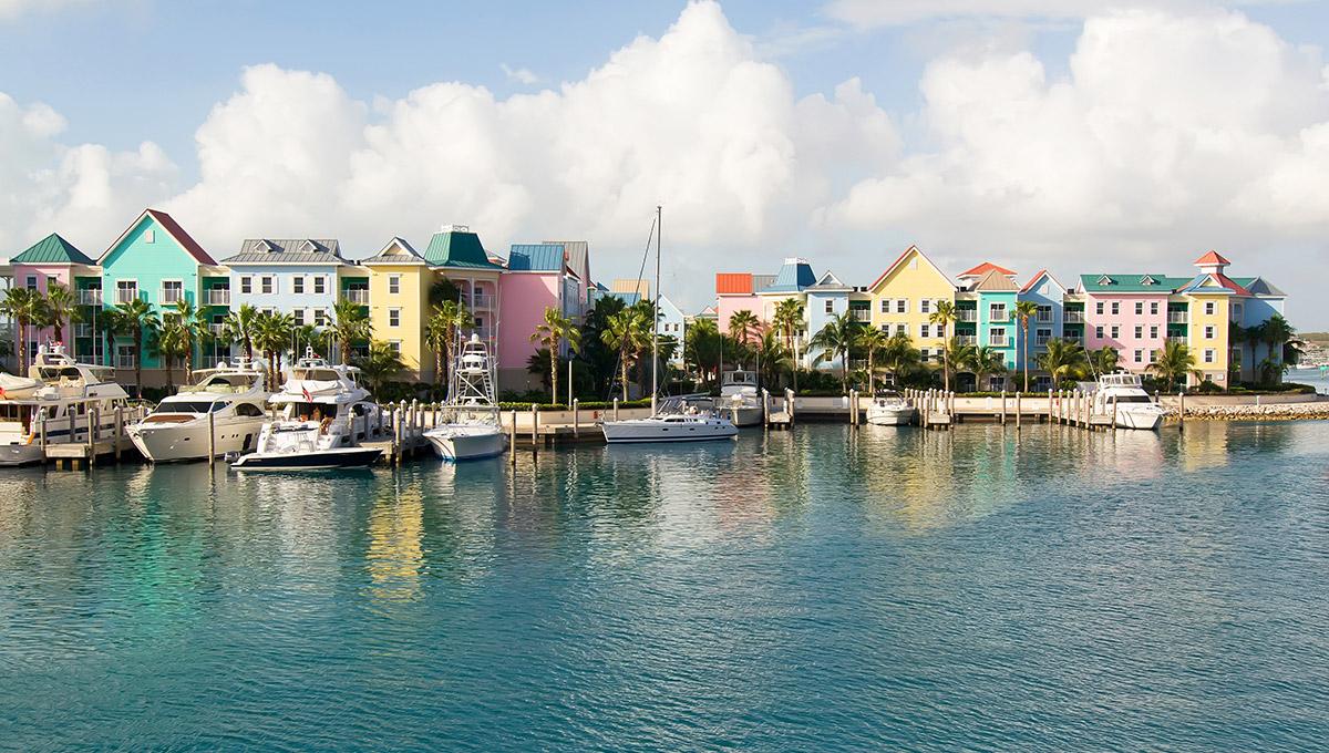 Colorful village on Paradise Island, in Nassau, Bahamas