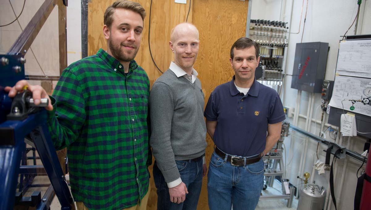 Carleton master's student, Robert Hunter, Prof. Dag Gillberg, and Prof. Thomas Koffas