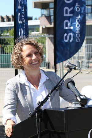 Interim Sprott Dean Linda Schweitzer during the ground-breaking on the Nicol Building.