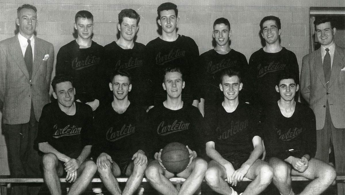 Nicol (back row, second last on the right) was a member of the Carleton College Ravens Basketball Team during the 1951-1952 season.