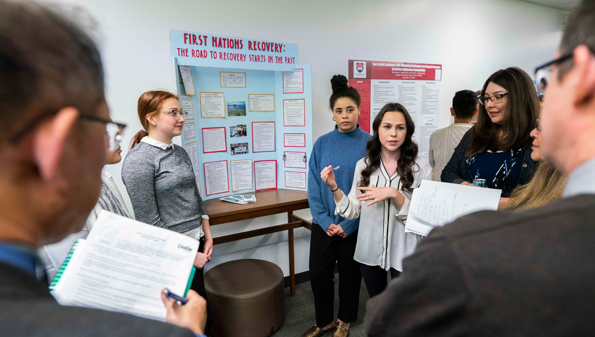 Carleton students examined ways to mitigate health impacts from natural disasters in Indigenous communities during the 2018 One HEALTH Challenge.
