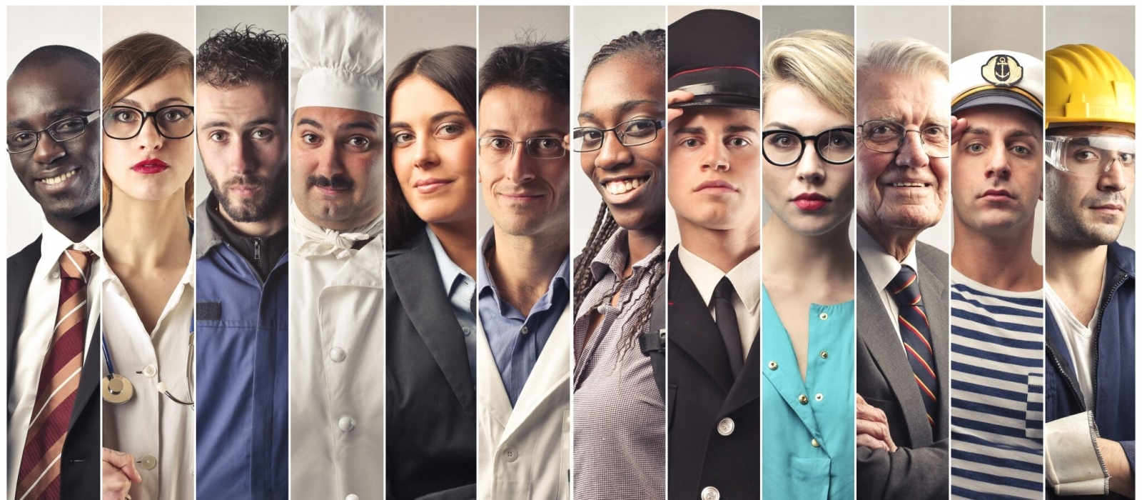 A horizontal collage of diverse people representing many different professions, including business person, doctor, chef, pilot etc.