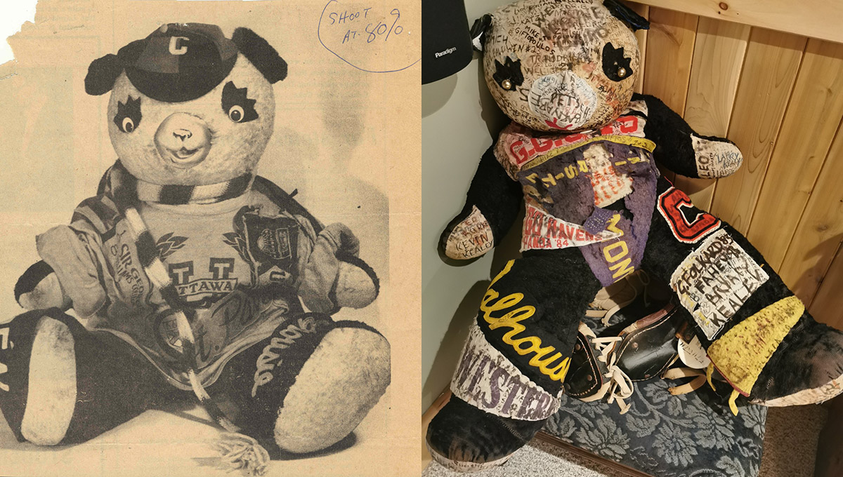 Side by side images of Pedro the Panda in the 40s and more recently