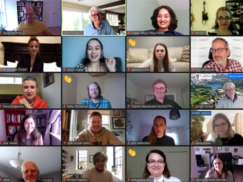 A screenshot of a recent Zoom call featuring Provost Scholar Award Recipients