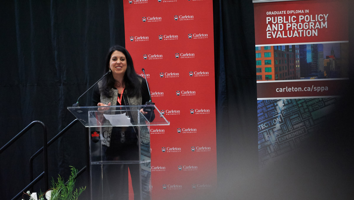 Jennifer Ditchburn, editor-in-chief of Policy Options, speaks at the 2019 National Public Administration Student Case Competition, which Carleton University's School of Public Policy and Administration hosted in February 2019.