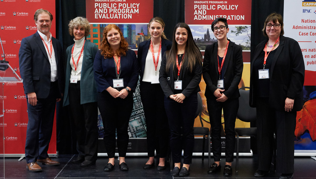 The winning team onstage at the 2019 National Public Administration Student Case Competition, which Carleton University's School of Public Policy and Administration hosted in February 2019.