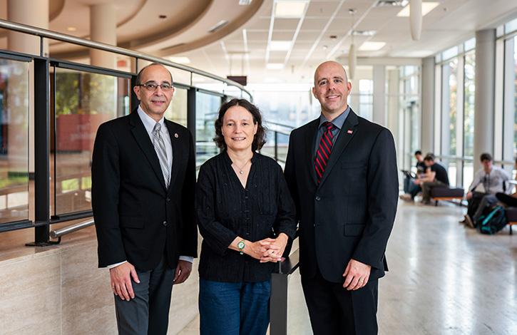 Vice-President (Research and International) Rafik Goubran, Physics Prof. Manuella Vincter and President Benoit-Antoine Bacon