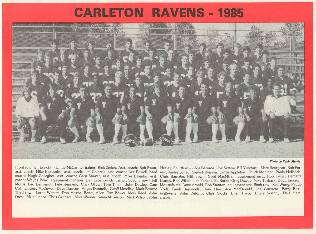 A newspaper photo of the Carleton Ravens Football lineup in 1985
