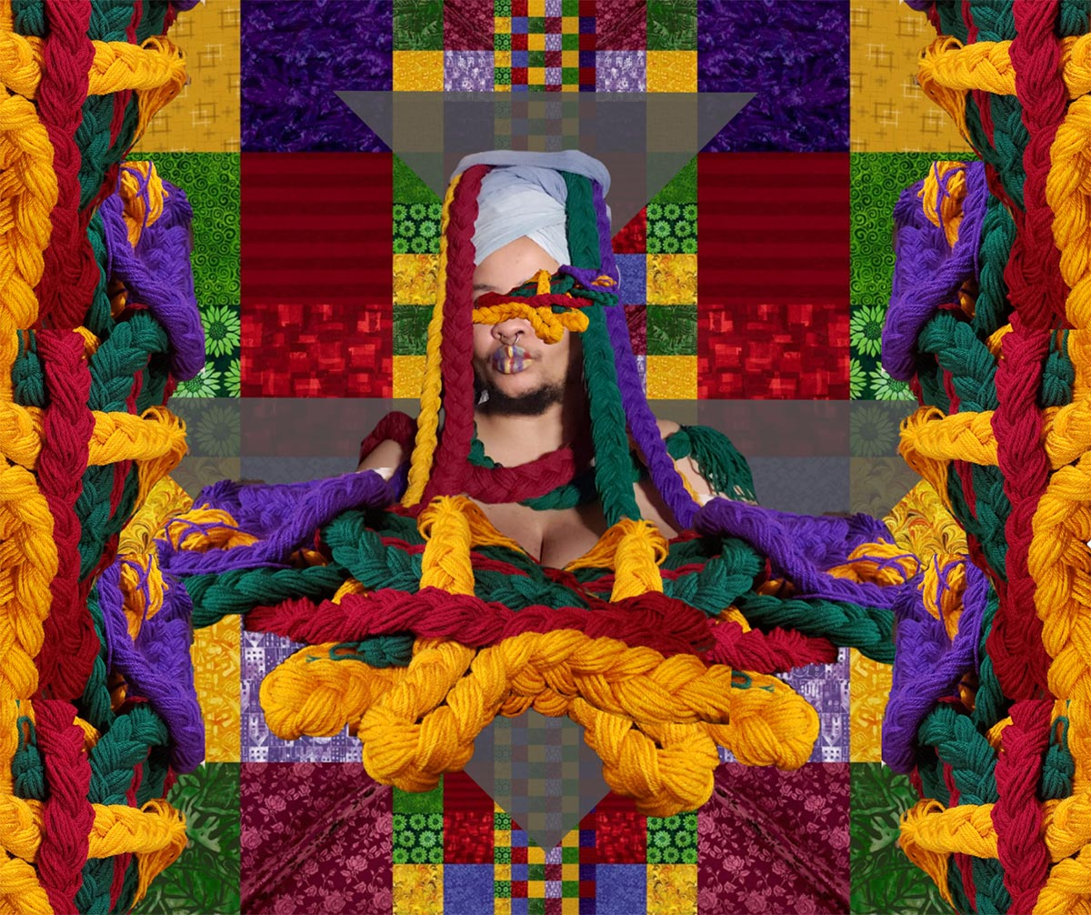 A grid of jewel-toned purple, yellow, green and red fabric squares forms the image of a quilt. At the centre, the artist's head, crowned in alight bluefabric wrap, and torso, are adorned with braids of purple, yellow, red and green yarn. Their eyes are covered by several smaller entwined colourful braids.