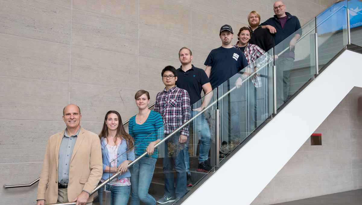 Richard Ernst and his graduate students (left to right up the stairs): Sarah Davey, Erin Bethell, Ying Xia, Dusty Liikane, Cole Kingsbury, Jamie Graff, Nico Kastek and Chris Rogers. Not present are Jennifer Blanchard and two professors with whom Ernst is collaborating on LIPs (Brian Cousens) and planetary geology (Claire Samson).