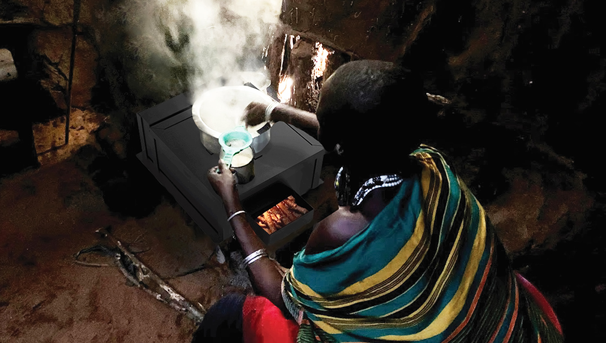 The Moshi Inje Stove in use