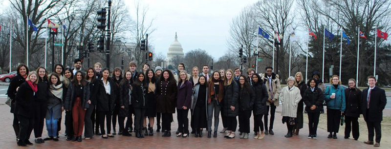 Carleton students, joined by counterparts from Canadian and U.S. schools, attend the third annual Scholars at Risk Student Advocacy Days at New York University's Washington, D.C. campus in 2019.