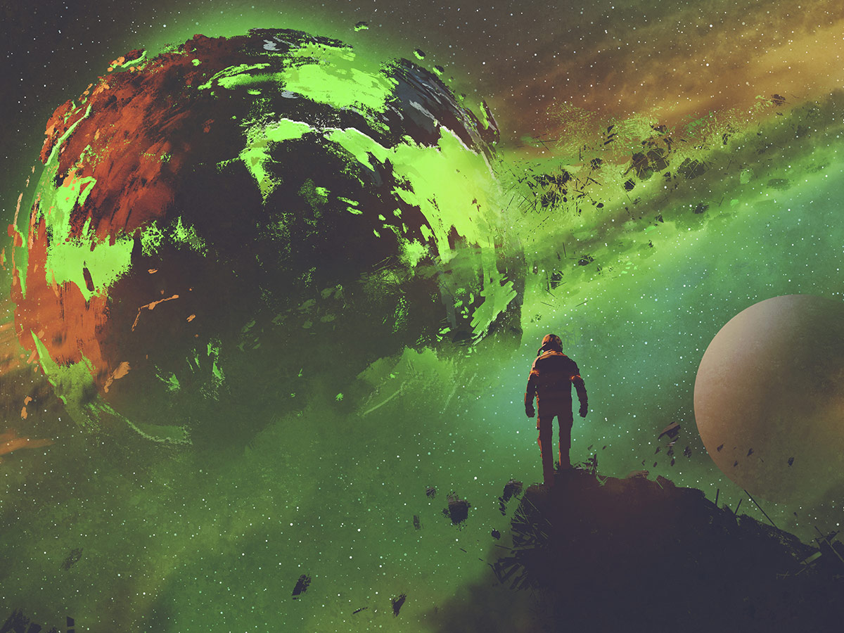 An illustrated astronaut in a science fiction landscape.