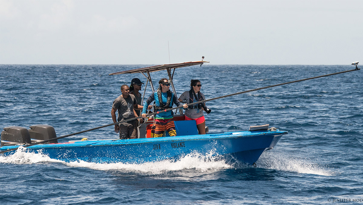 Shane Gero and his team capturing footage of whales