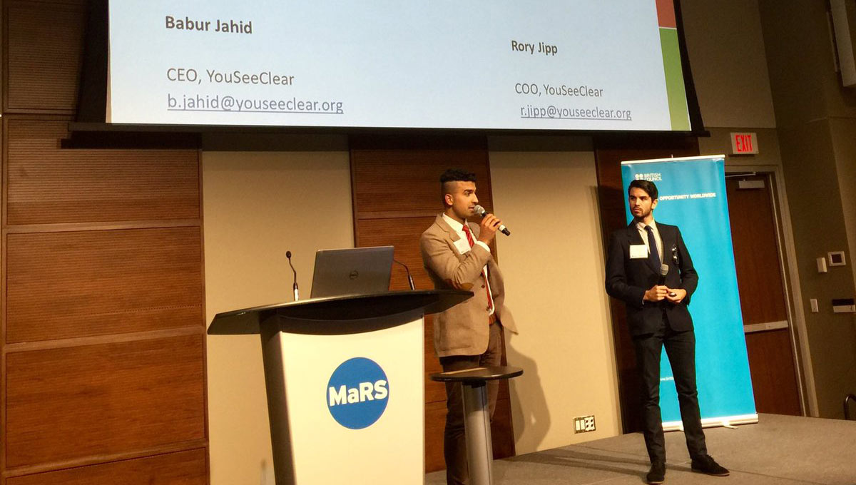 Jahid and Jipp at the British Council Social Enterprise Competition pitching portable smartphone-based technology to provide optometry to Afghanistan.