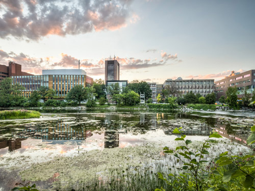 A shot of Carleton's campus across the Rideau River