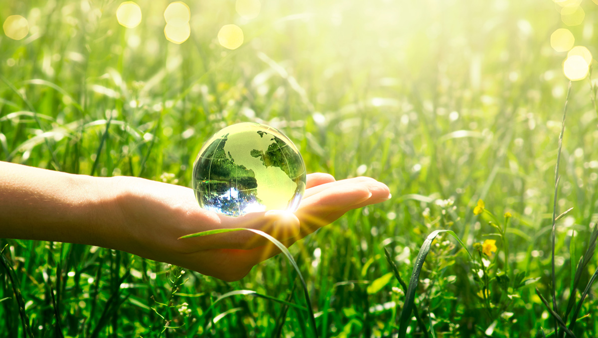 Earth crystal glass globe in human hand on grass background.