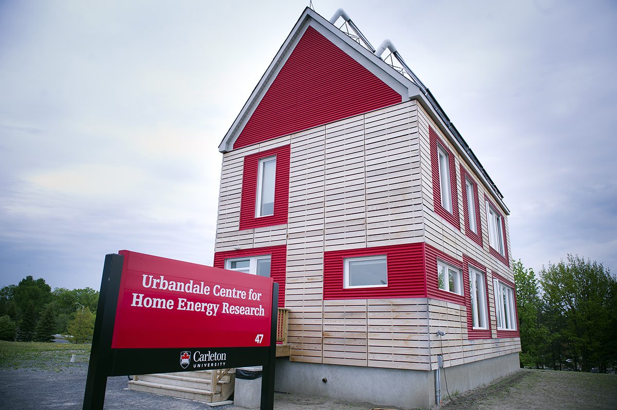 The Urbandale Centre for Energy Research, one example of sustainability in housing, on a cloudy day.