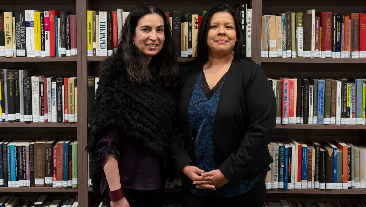Tanya Talaga and APTN's Francine Compton. Tanya Talaga Seven Fallen Feathers in front of a large crowd at the annual Kesterton Lecture in February 2019.