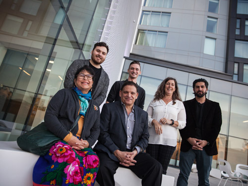 Carleton's Manuel Báez and his students, pictued here in the courtyard of the Ottawa Art Gallery, have won Urban Design Awards.