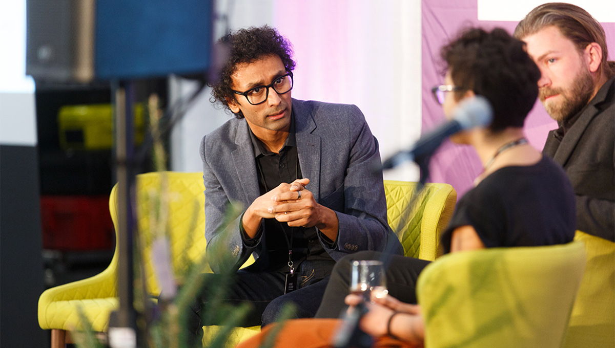 Rajasekaran takes part in a discussion at the Future of Good conference