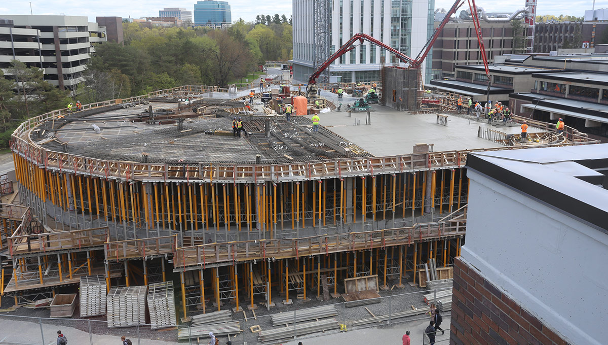 A photo of the Nicol Building under construction at Carleton University.